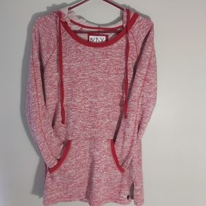 Marc New York Long Heathered Red Hoodie size M